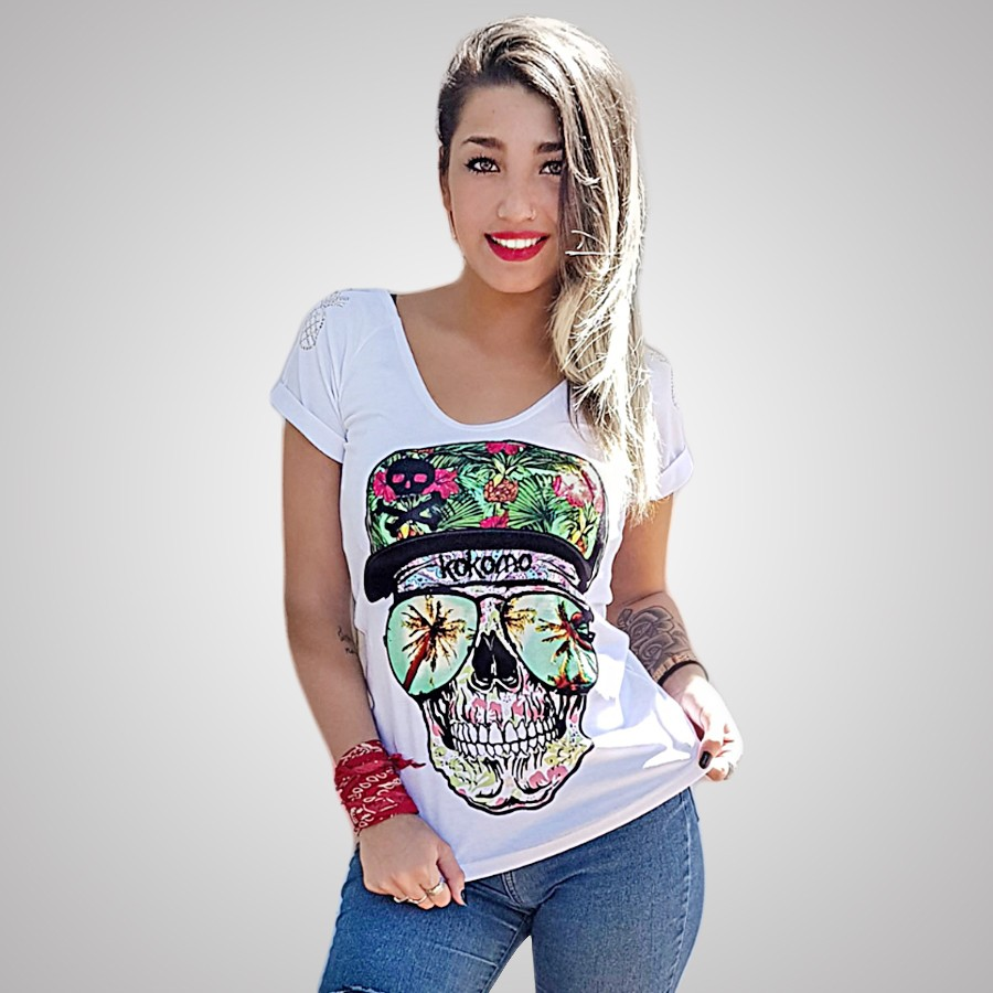 Remera Skull Glass
